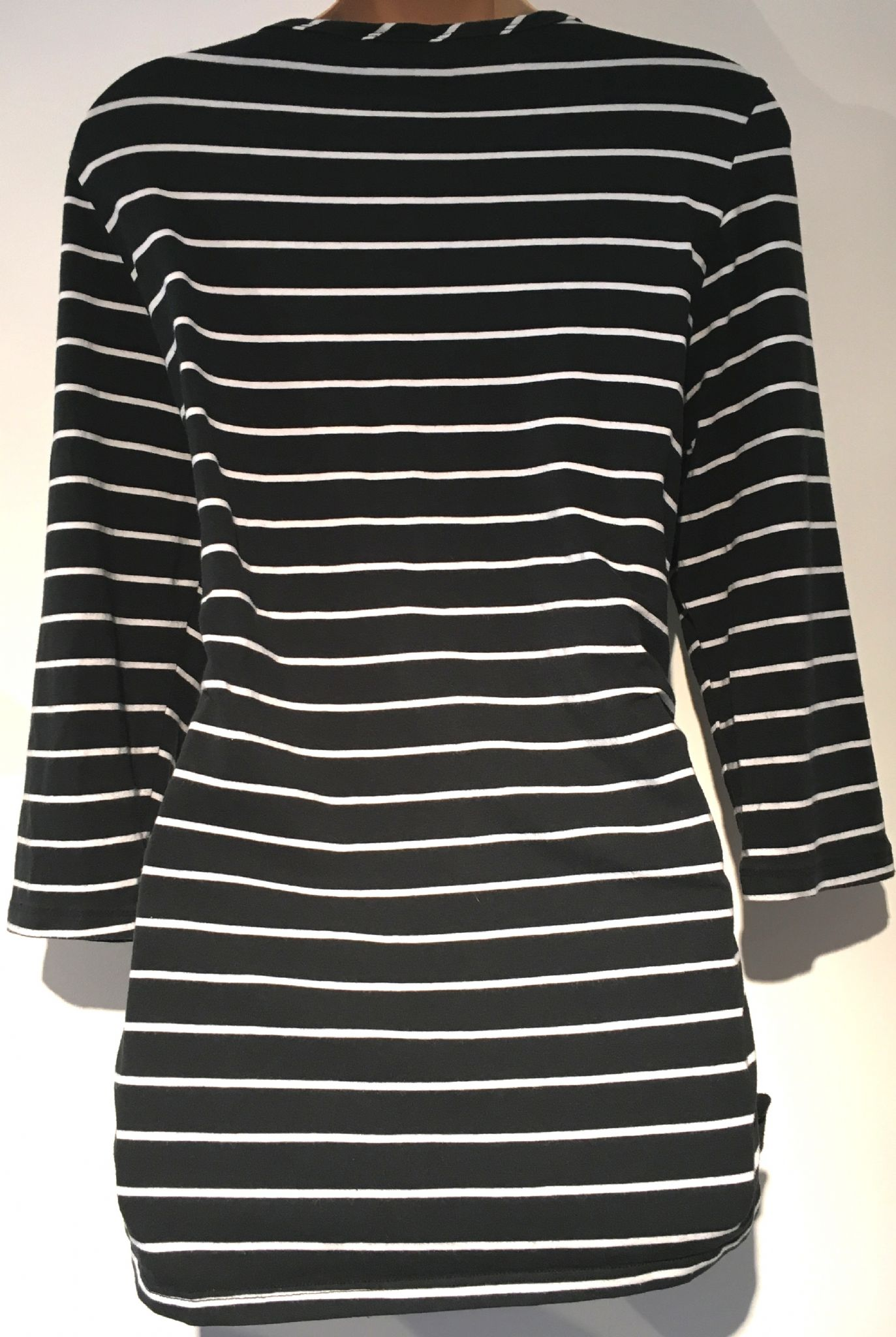 091ba9786d BLOOMING MARVELLOUS MATERNITY BLACK STRIPE 3 4 SLEEVE TUNIC TOP SIZE M 12